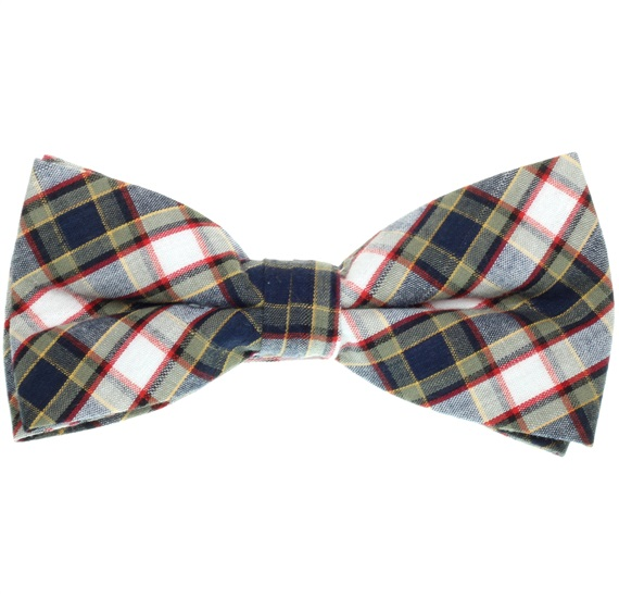 Dark Blue and Green Tartan Bow Tie