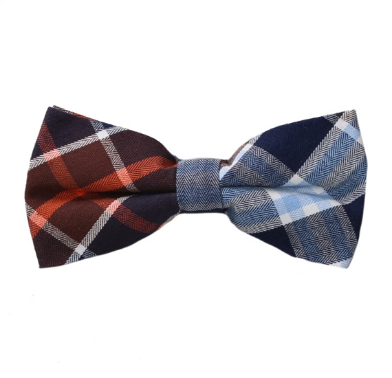 Brown and Blue Tartan Bow Tie
