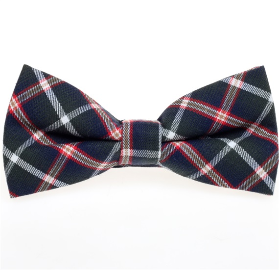 Dark Green and Navy Blue Tartan Bow Tie