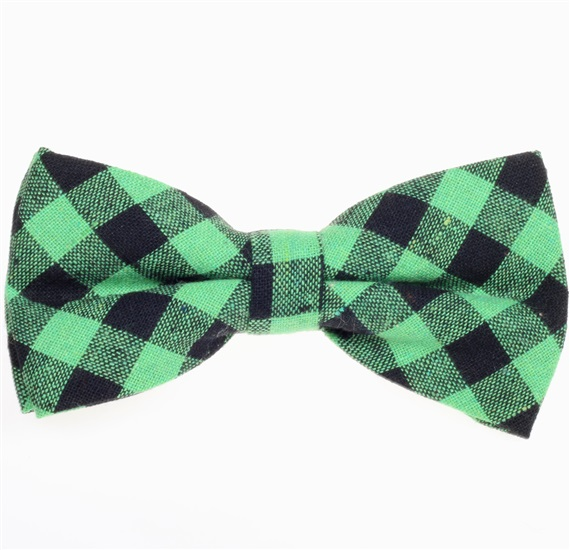 Black and Green Vichy Checked Bow Tie