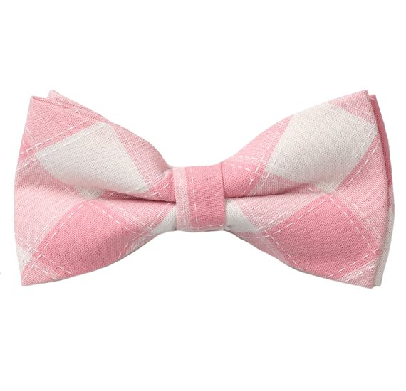 Light Pink and Beige Checks Bow Tie