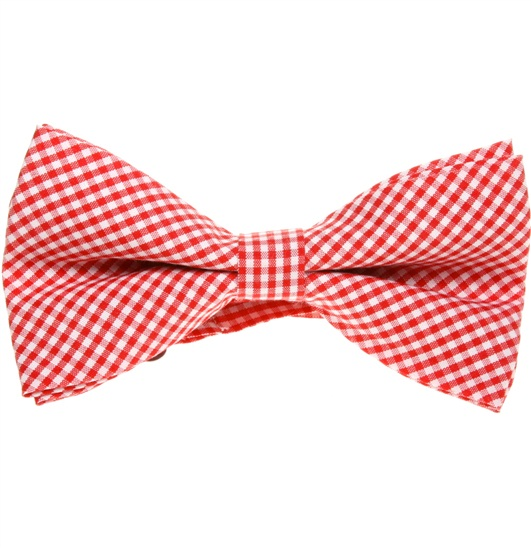 Red and White Vichy Checks Bow Tie
