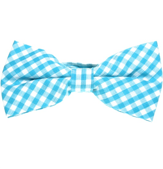Turquoise and White Vichy Checks Bow Tie