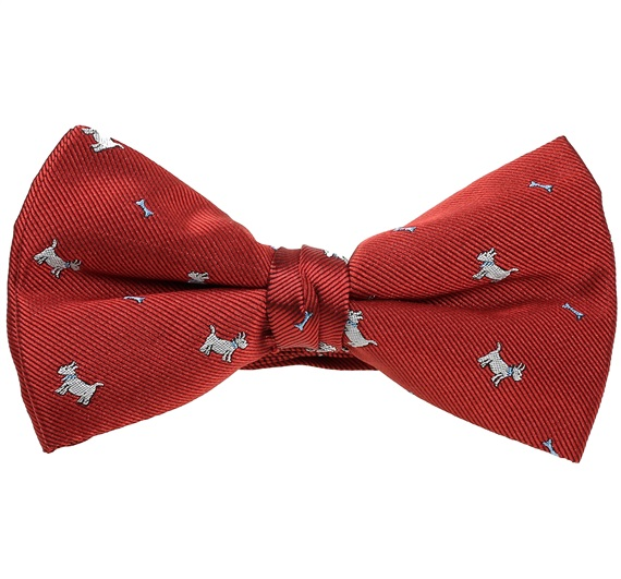 Garnet Bow Tie with White Schnauzers