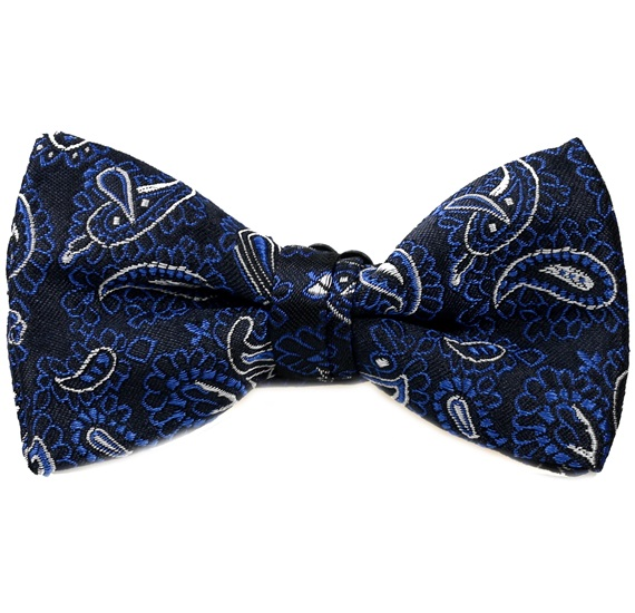 Dark Blue Boy's Bow Tie with Royal Blue Paisley