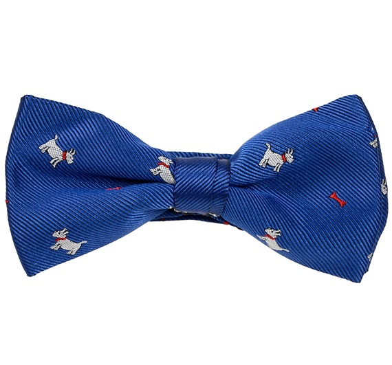 Royal Blue Boy's Bow Tie with White Dogs