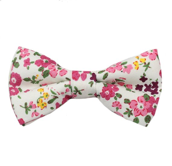 White Boy's Bow Tie with Flowers