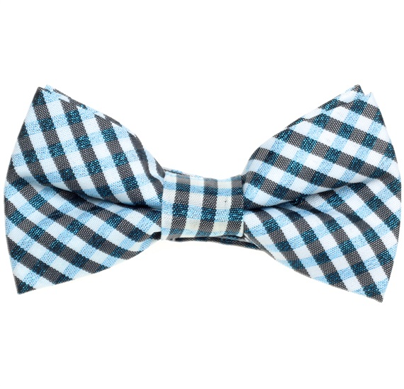 Blue and Black Vichy Checked Boy's Bow Tie