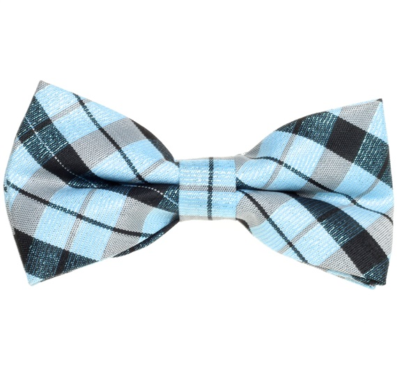 Blue and Black Tartan Checked Boy's Bow Tie