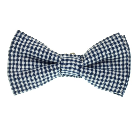 Deep Blue Vichy Checked Boy's Bow Tie