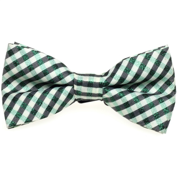 Green and Black Vichy Checked Boy's Bow Tie