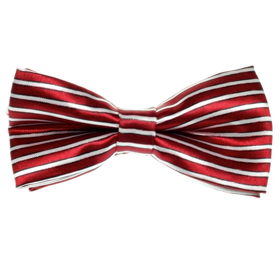 Garnet and White Stripes Boy's Bow Tie