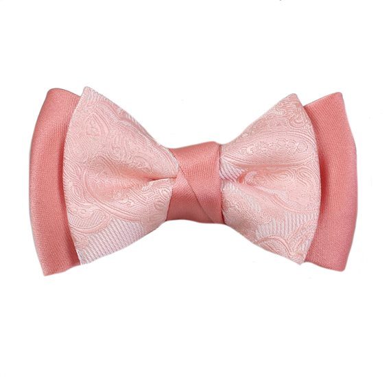 Salmon Pink Boy's Bow Tie Paisley