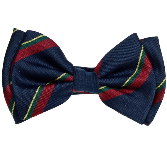 Silk Boy's Bow Tie with Blue and Garnet Stripes