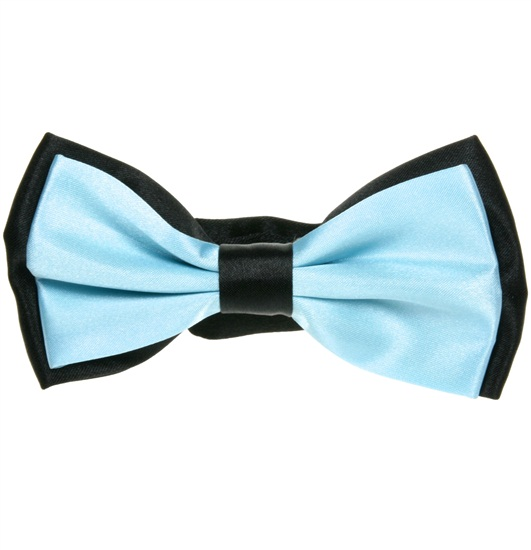 Black and Sky Blue Satin Bow Tie