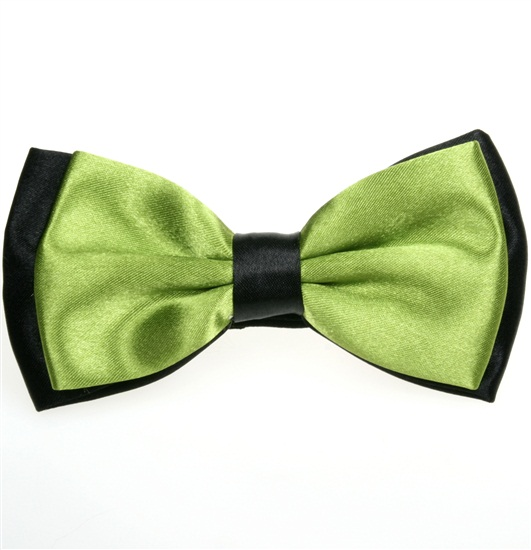 Black and Pistachio Green Satin Bicolor Bow Tie