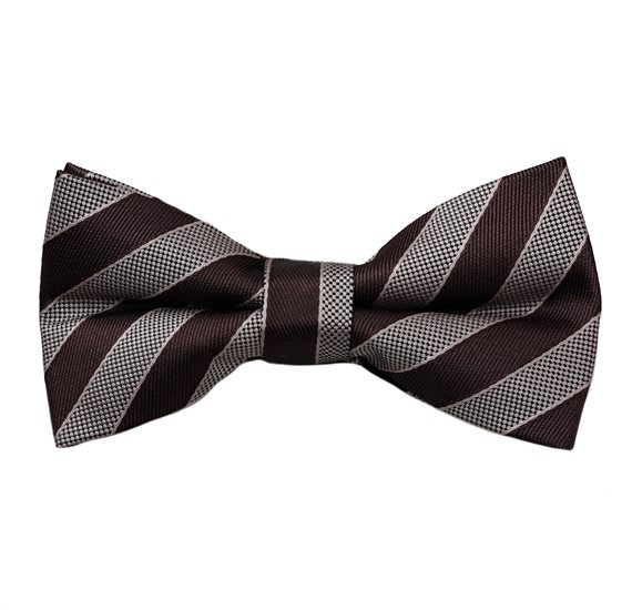 Brown and Beige Stripes Bow Tie