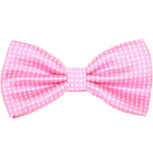 Pink Bow Tie with White Dots
