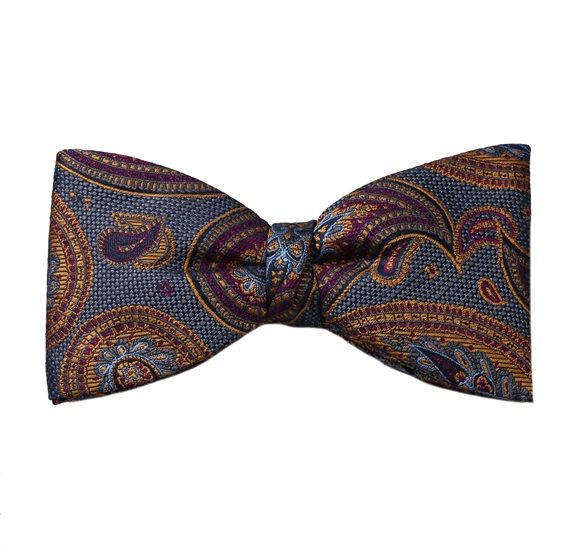 Blue Bow Tie and Pocket Square with Garnet Cashmere