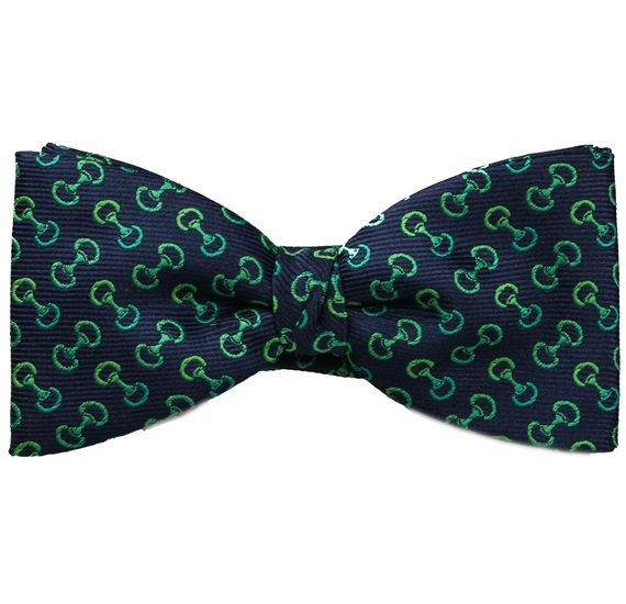 Blue Bow Tie and Pocket Square with Stirrup Riding