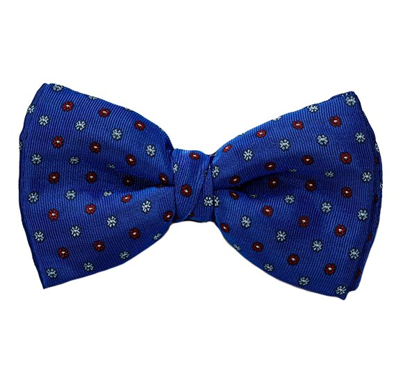 Royal Blue Bow Tie and Pocket Square with Flowers