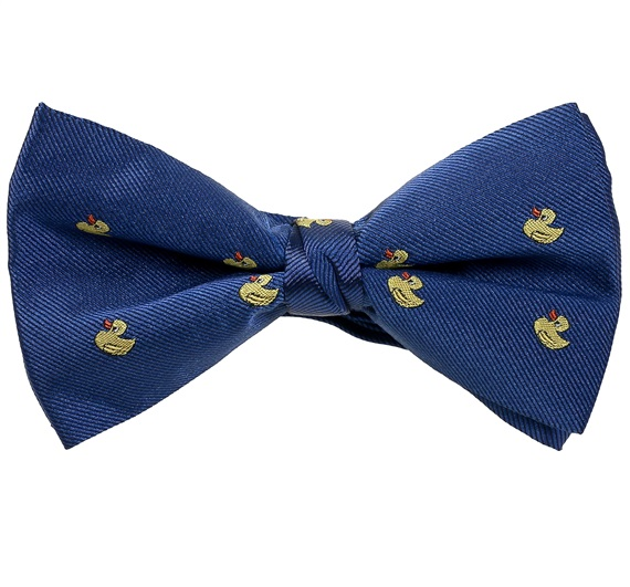 Royal Blue Bow Tie and Pocket Square with Yellow Ducks
