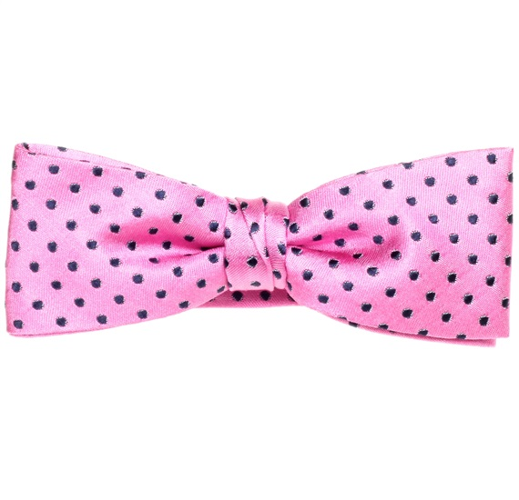 Fuchsia Silk Boy's Bow Tie and Pocket Square with Dots