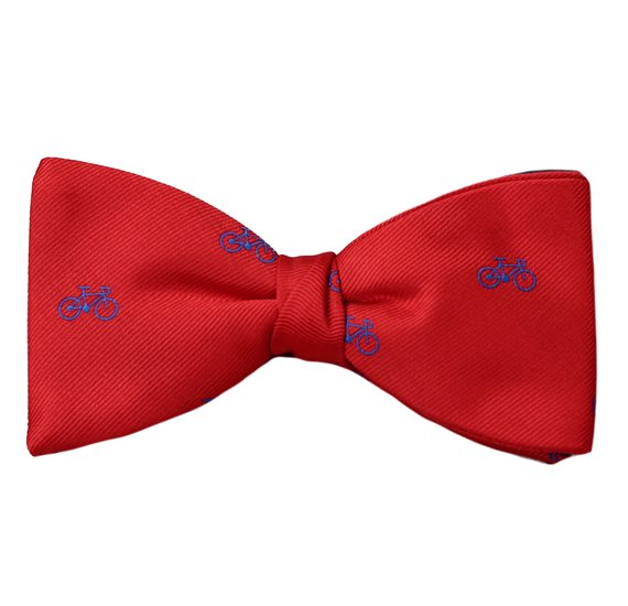 Red Bow Tie and Pocket Square with Bicycles