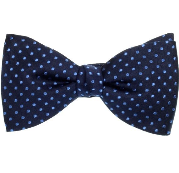 Deep Blue Silk Bow Tie and Pocket Square with Dots