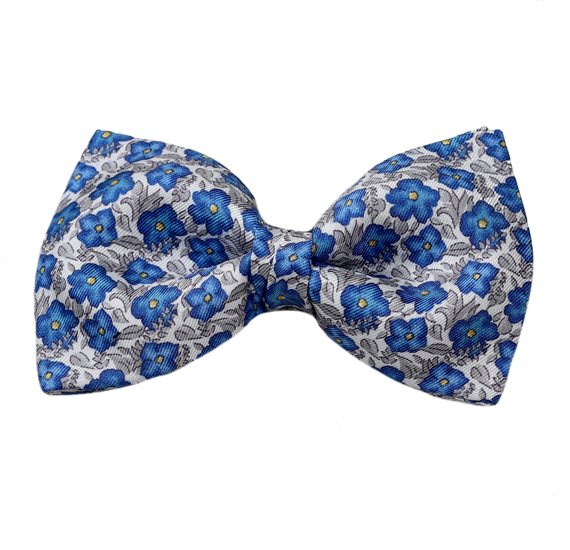 Bow Tie and Pocket Square with Blue and Grey Flowers
