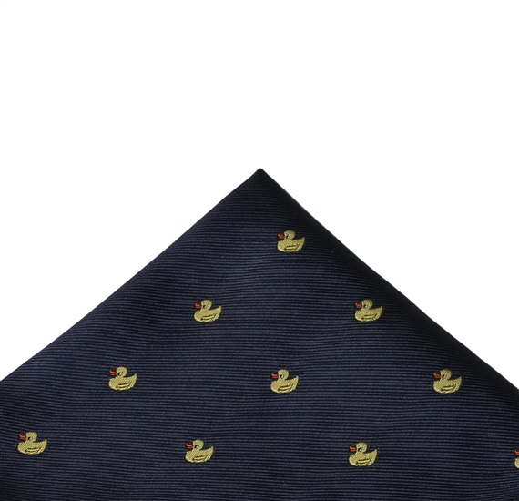 Dark Blue Pocket Square with Ducks