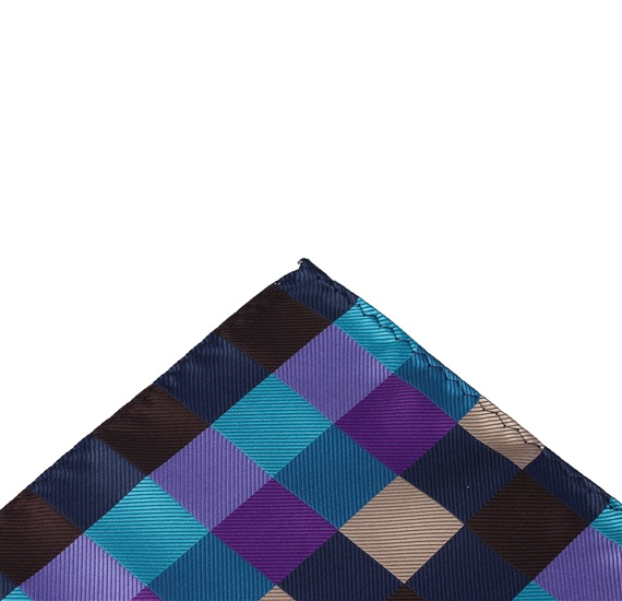 Dark Blue Checkered Pocket Square
