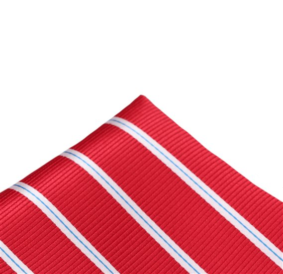Red Pocket Square with Stripes