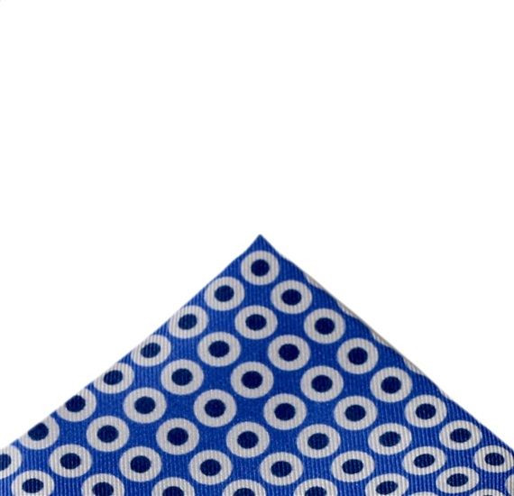 Royal Blue Silk Pocket Square with Blue Dots