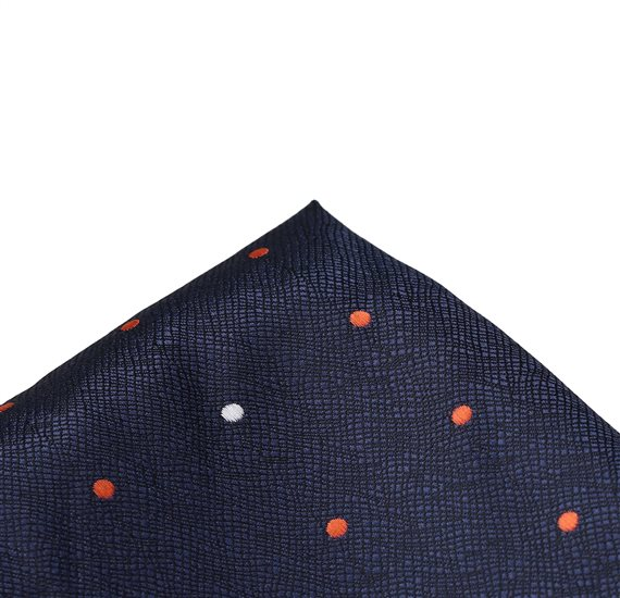 Dark Blue Pocket Square with Dots