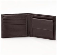 Dark Brown Leather Wallet with Coin Purse