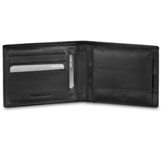 Black Leather Wallet with Coin Purse