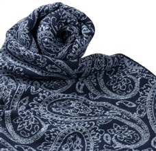 Dark Blue Scarf with Sky Blue Paisley