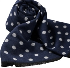 Blue Scarf with Grey Dots