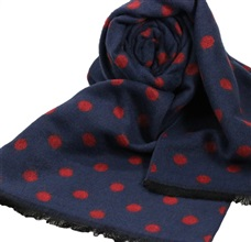 Blue Scarf with Bordeaux Dots