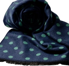 Blue Scarf with Green Dots