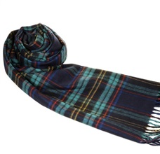 Dark Blue and Turquoise Checked Scarf