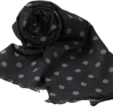 Black Scarf with Grey Dots