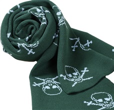 Deep Green Scarf with Sky Blue Skulls