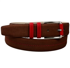 Brown and Red Suede Belt