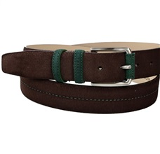 Brown and Green Suede Belt