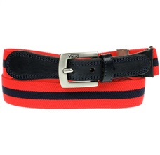 Boy's Red Belt with Deep Blue Stripe