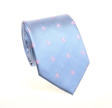 Sky Blue Anchors Natural Silk Tie