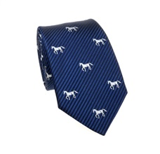Blue Tie with White Horses
