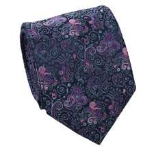 Blue Tie with Malva Paisley